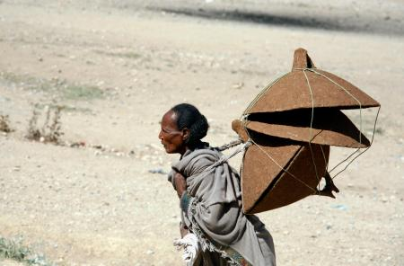 A Tigray woman walks to the market to sell table covers in Mekele March 12, 2007.