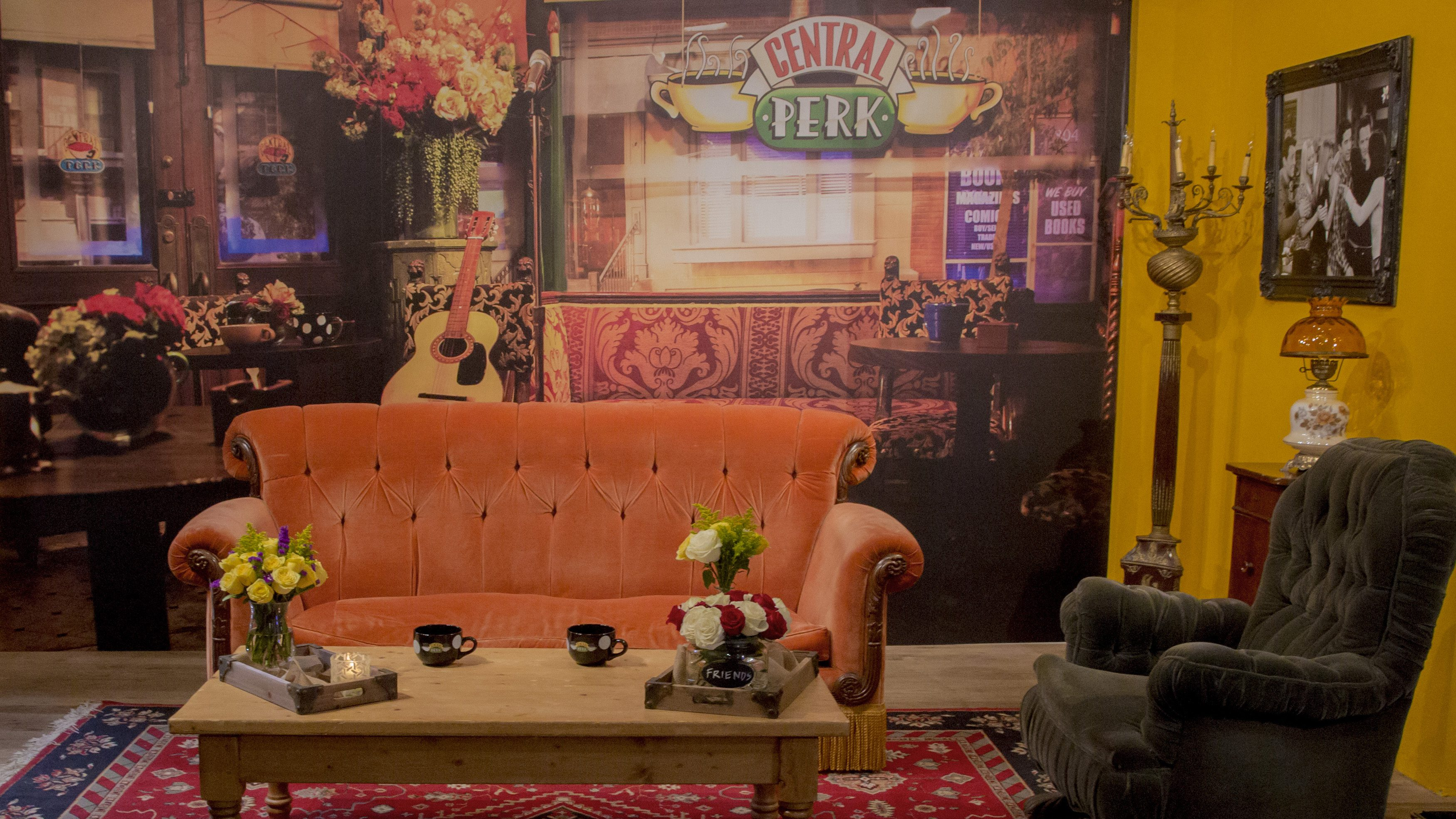The iconic couch and other props from the fictitious Central Perk Coffee Shop used in the TV show 'Friends' are set up in a store-front in the SoHo section of New York