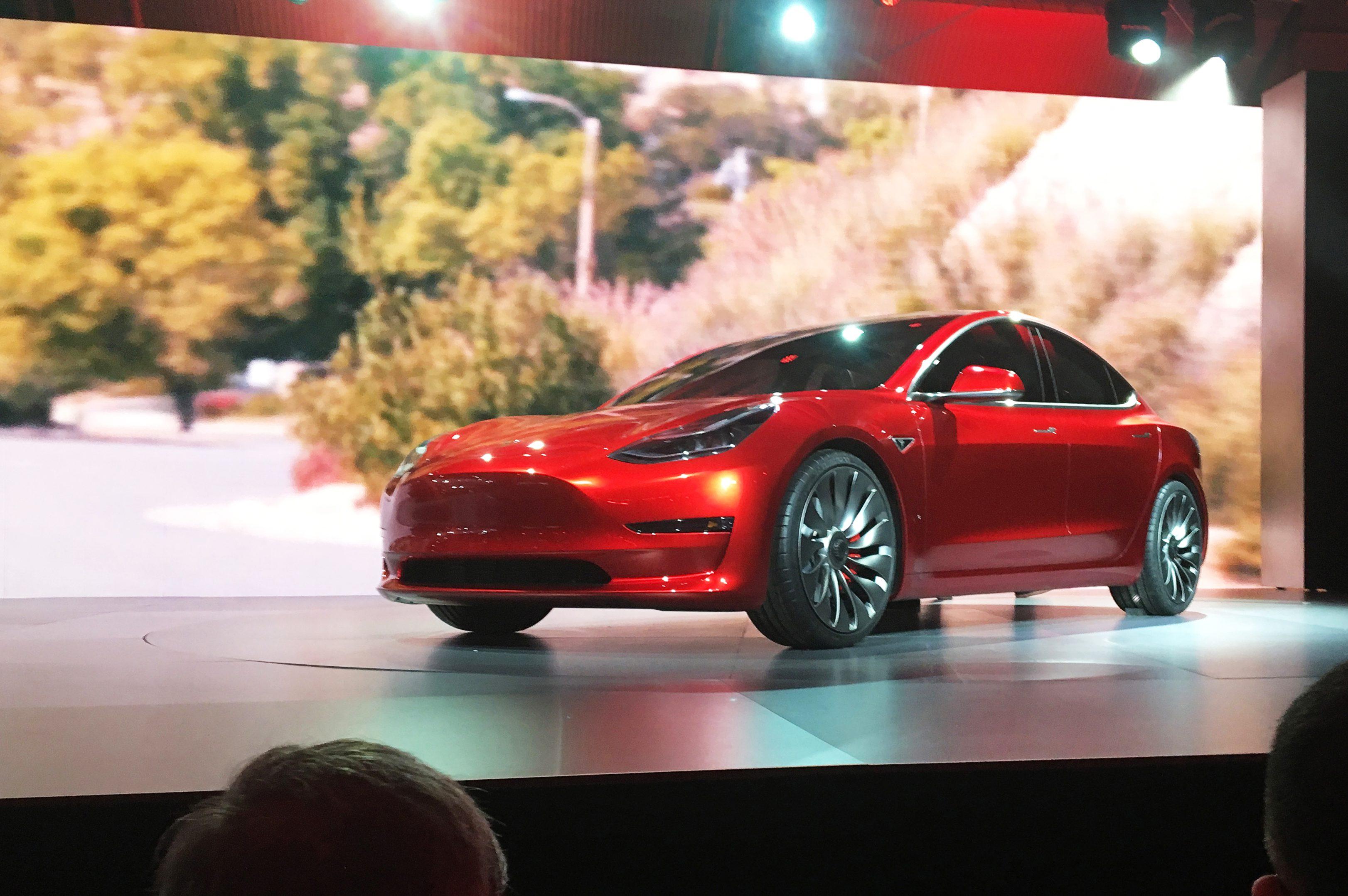 A Tesla Model 3 sedan