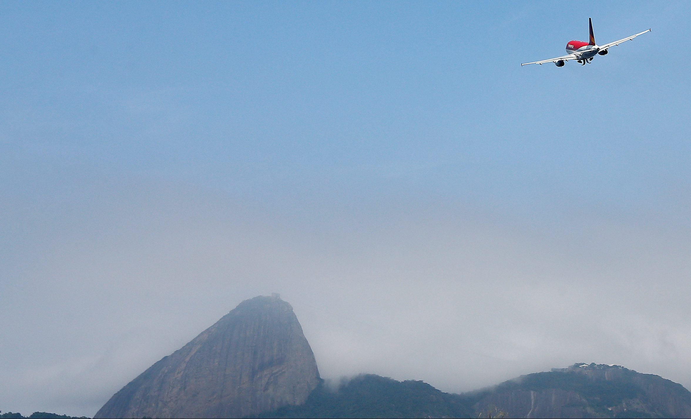 An airplane of Avianca Holdings SA takes off from Santos Dumont Airport in Rio de Janeiro