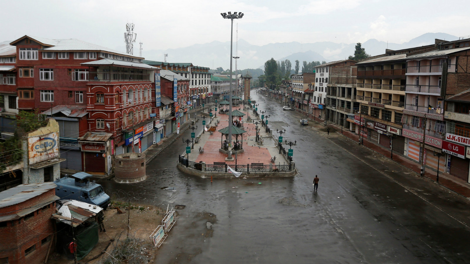 A view of a deserted road during a curfew in Srinagar, July 10, 2016.