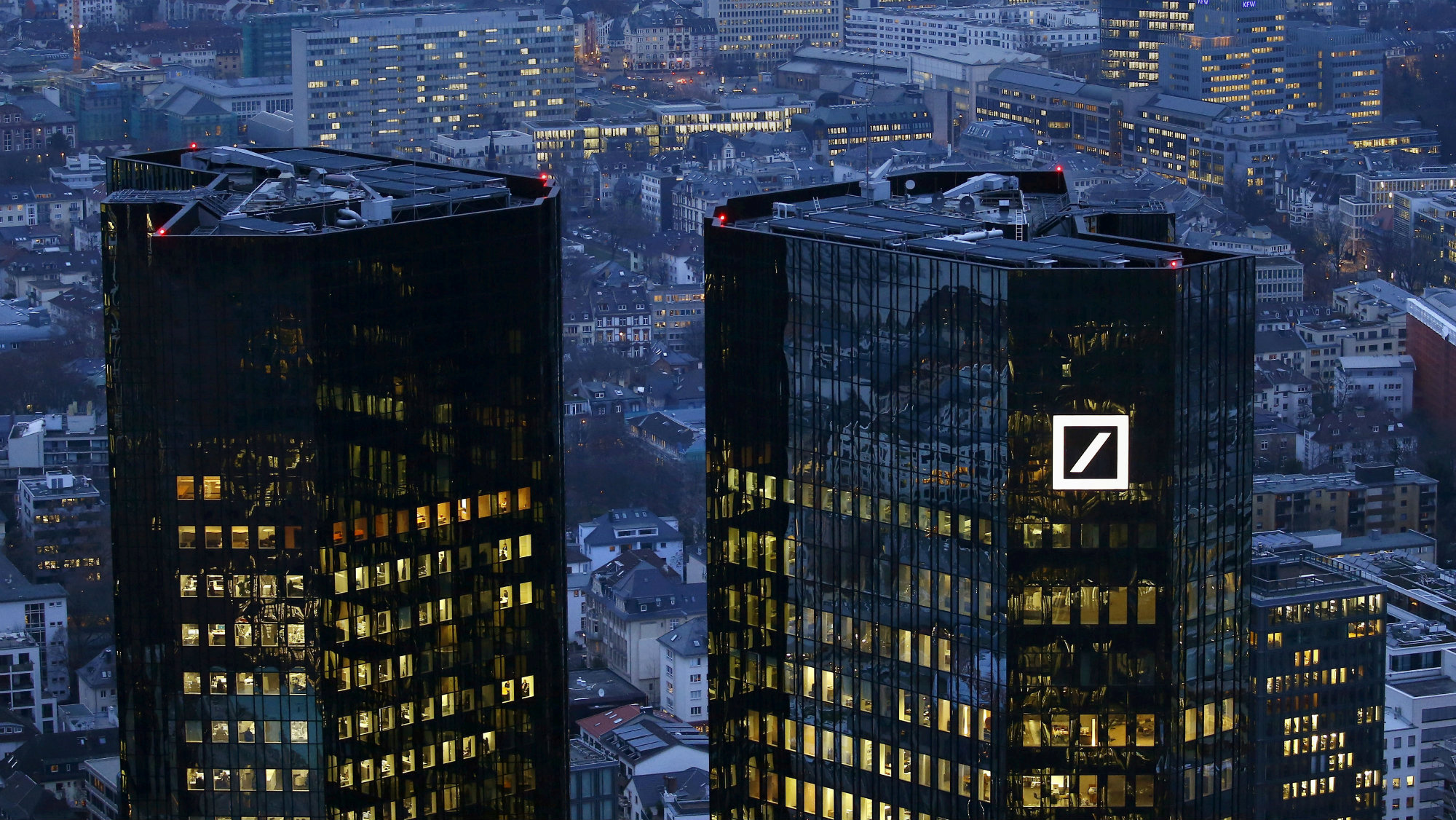 2016The headquarters of Germany's Deutsche Bank is photographed early evening in Frankfurt.