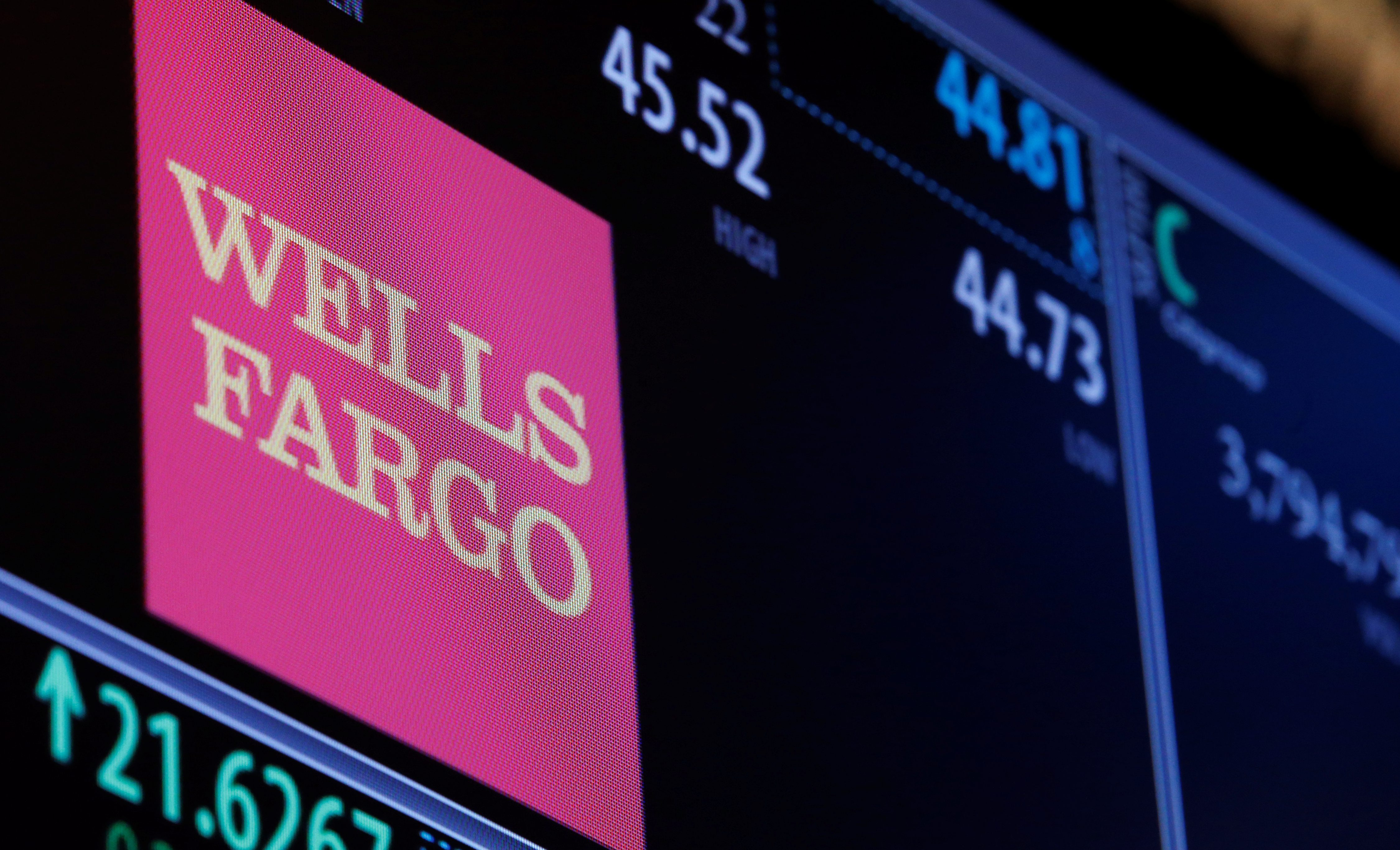 The logo and trading information for Wells Fargo are displayed on a screen on the floor of the NYSE