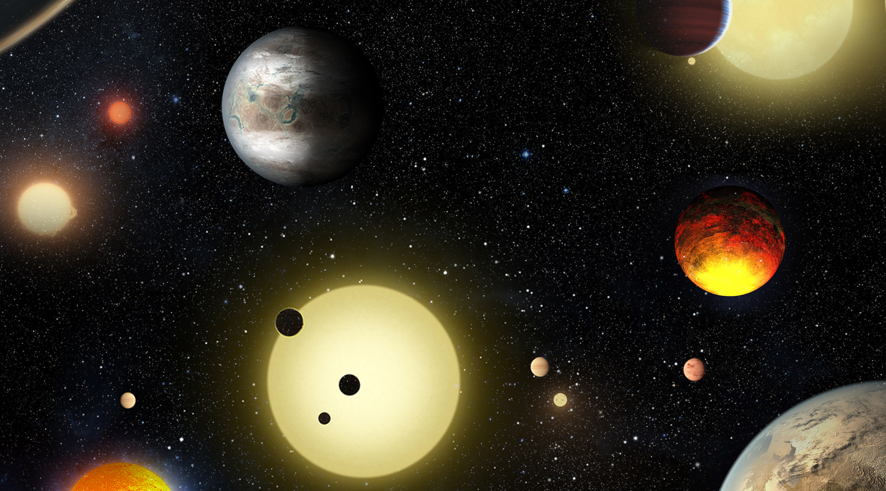 This artist's concept depicts select planetary discoveries made to date by NASA's Kepler space telescope in this image released May 10, 2016.