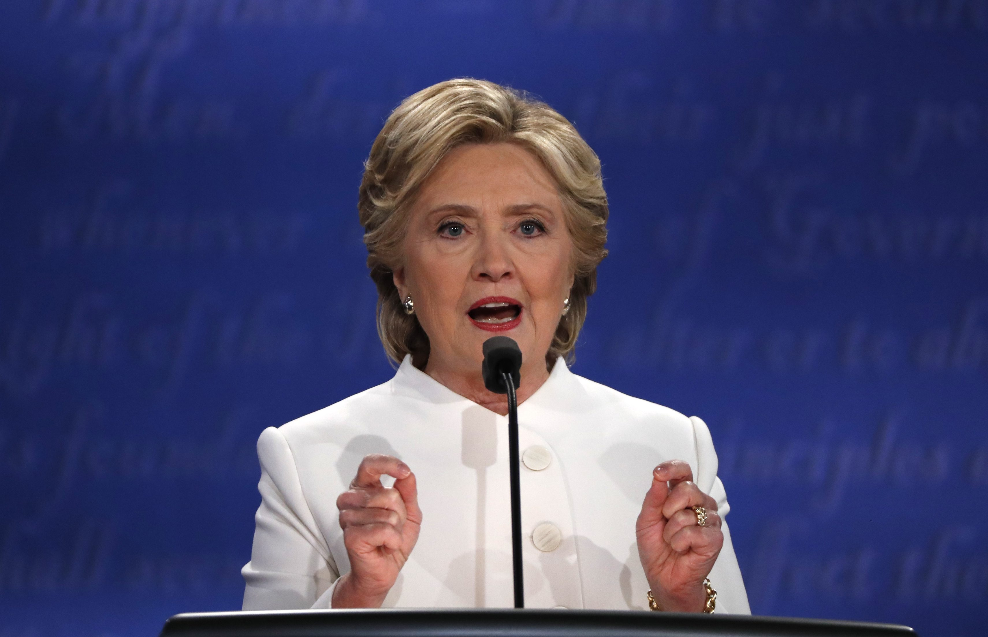 Democratic presidential nominee Hillary Clinton speaks during the third and final 2016 presidential campaign debate with Republican U.S. presidential nominee Donald Trump (not pictured) at UNLV in Las Vegas, Nevada, U.S., October 19, 2016.