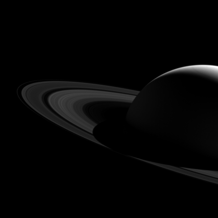 Saturn's shadow extends onto its rings in this image from 2015.