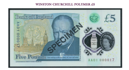 Auctioned £5 polymer note