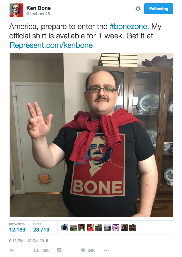 Ken Bone tweets about his new t-shirts