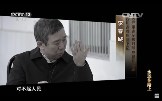 Li Chuncheng confesses on camera in a CCTV documentary.