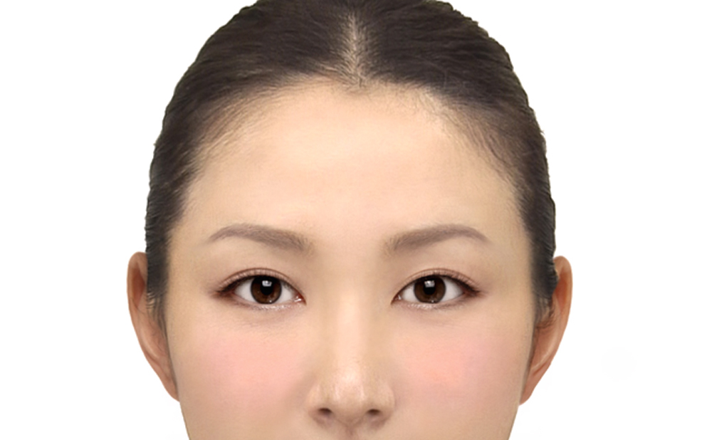 Woman's face with virtual makeup