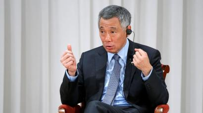 """Singapore's Prime Minister Lee Hsien Loong warning against """"the law of the jungle"""" taking over in the South China Sea."""
