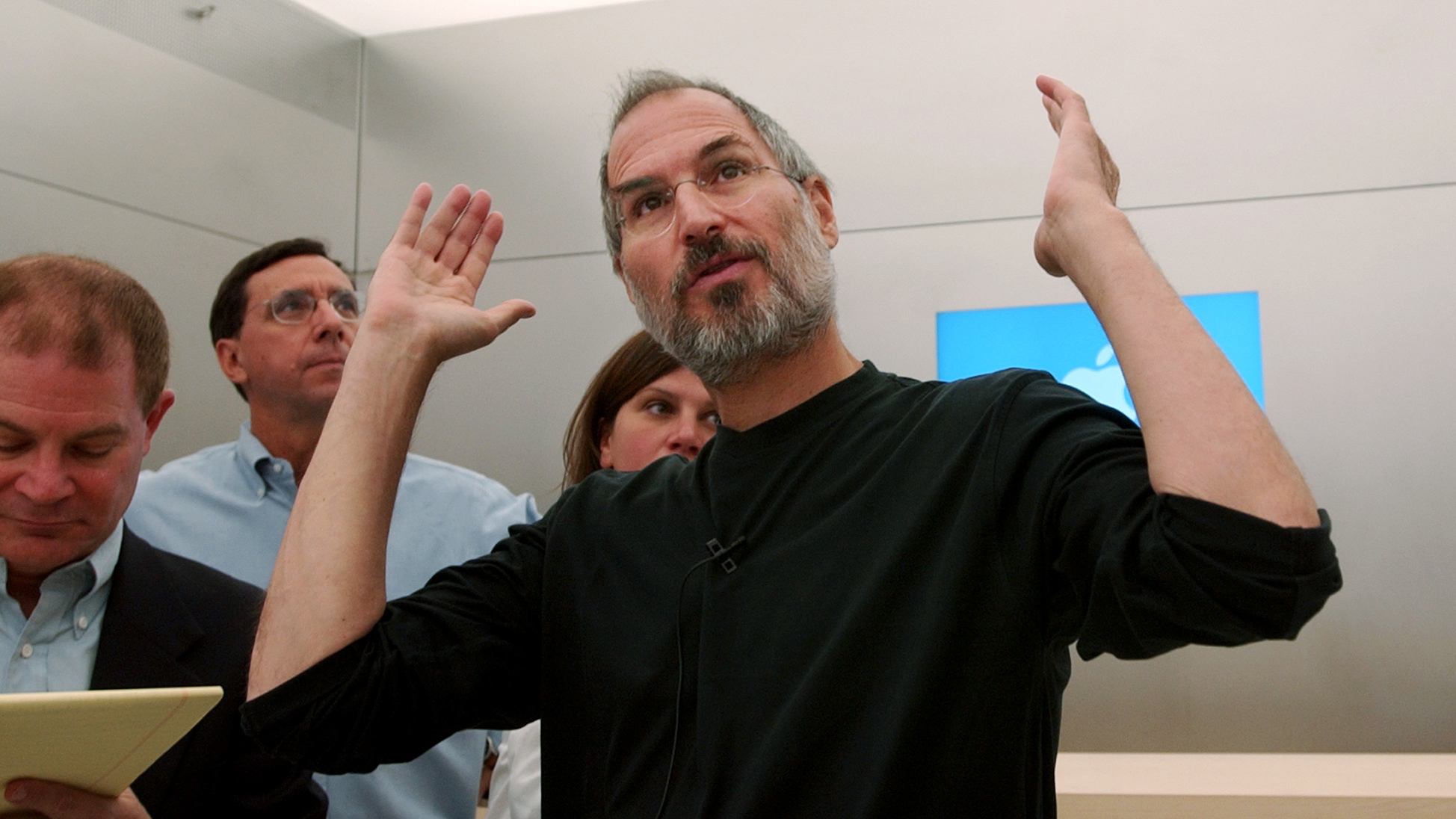 FILE--In a Oct. 14, 2004 file photo shows Apple CEO Steve Jobs gesturing in Palo Alto, Calif. just after he underwent cancer surgery in July, 2004. Jobs is taking his second medical leave of absence in two years, raising serious questions about his health and the leadership of a company at the forefront of a personal computing revolution. Apple did not provide any further information about Jobs' current condition, including whether Jobs is acutely ill, whether the leave is related to his 2009 liver transplant or whether he is at home or in a hospital. (AP Photo/Paul Sakuma, file)