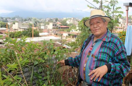 Simeon Taquira grows natural medicines on his roof.