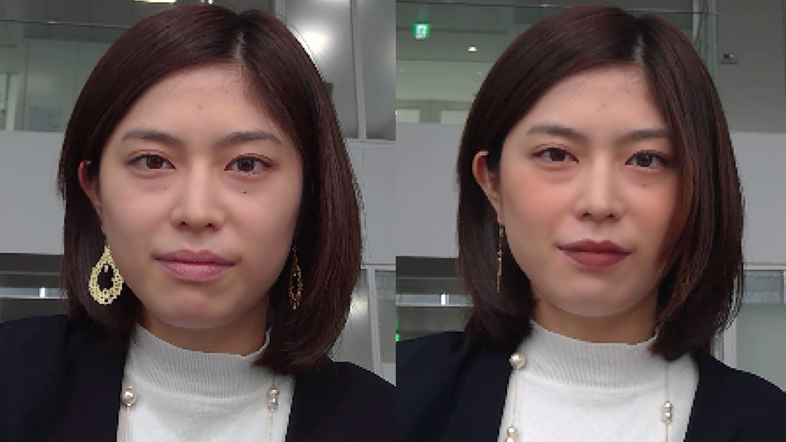 Before/after photos of woman using Shiseido's app