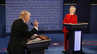 Donald Trump and Hillary Clinton at first presidential debate