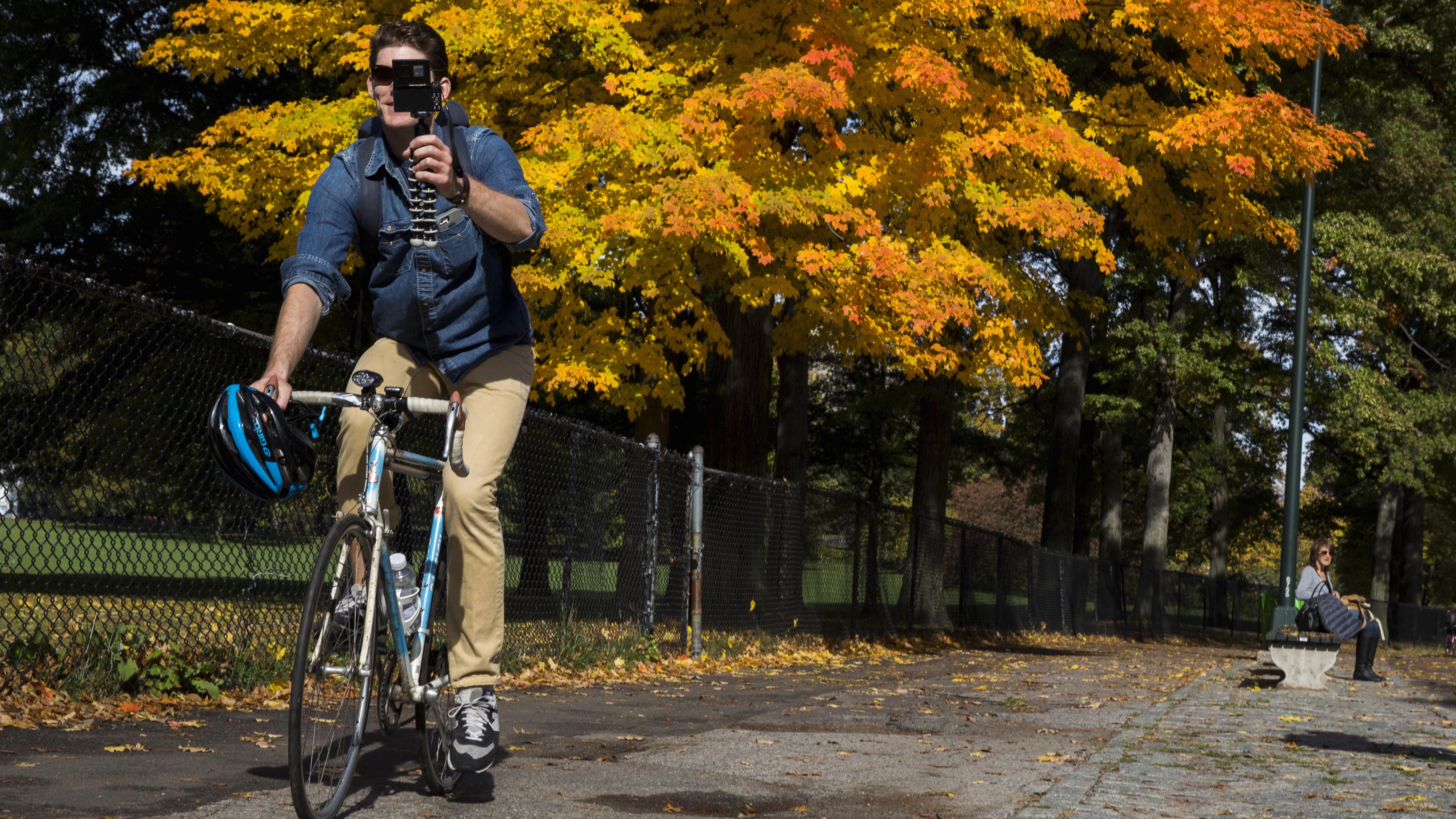 Biker films video in NY's Central Park