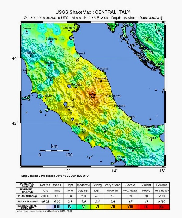 US Geological Survey map of earthquake intensity in Norcia, Umbria region, Oct. 30 2016