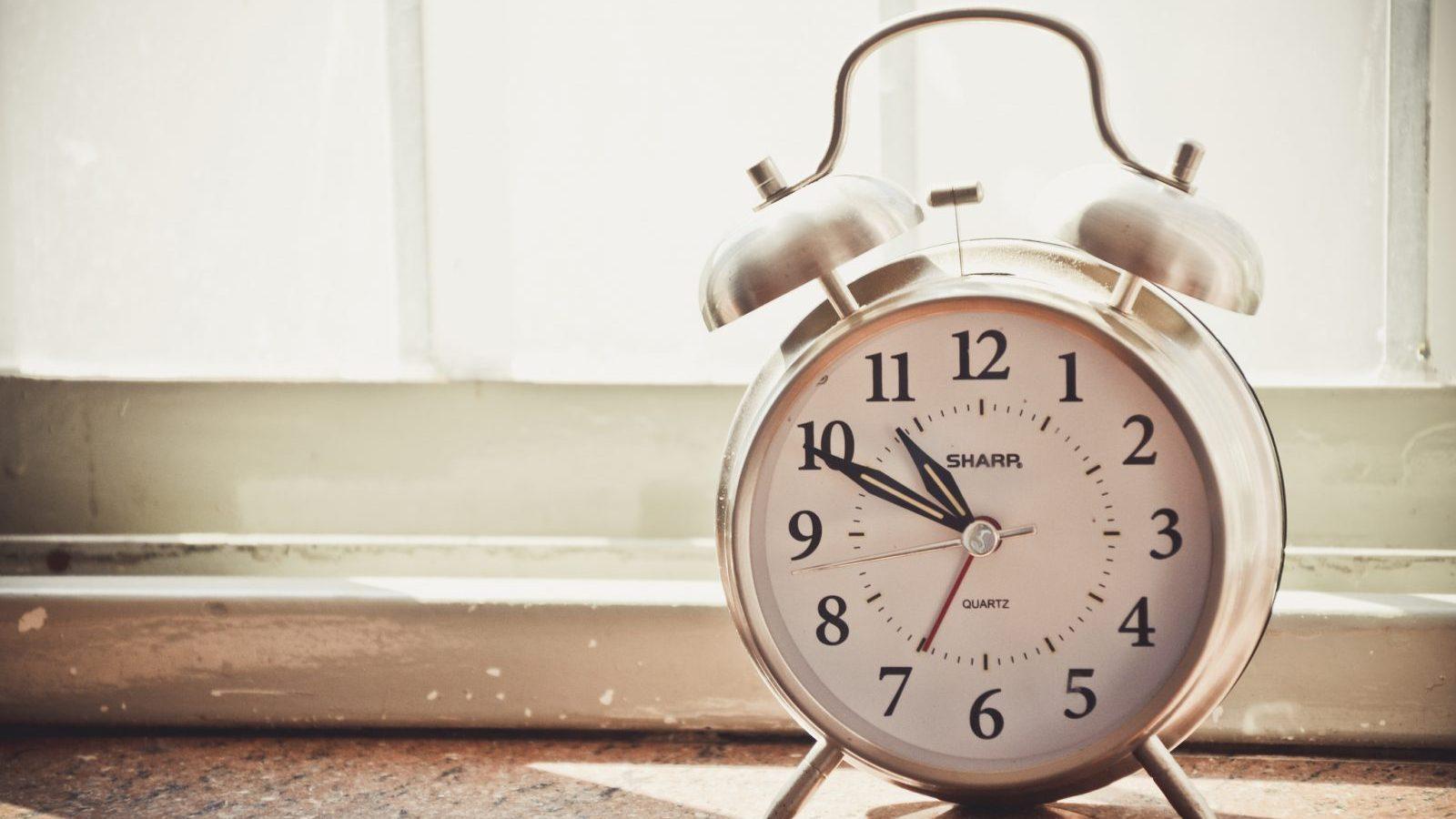 alarm clock on windowsill