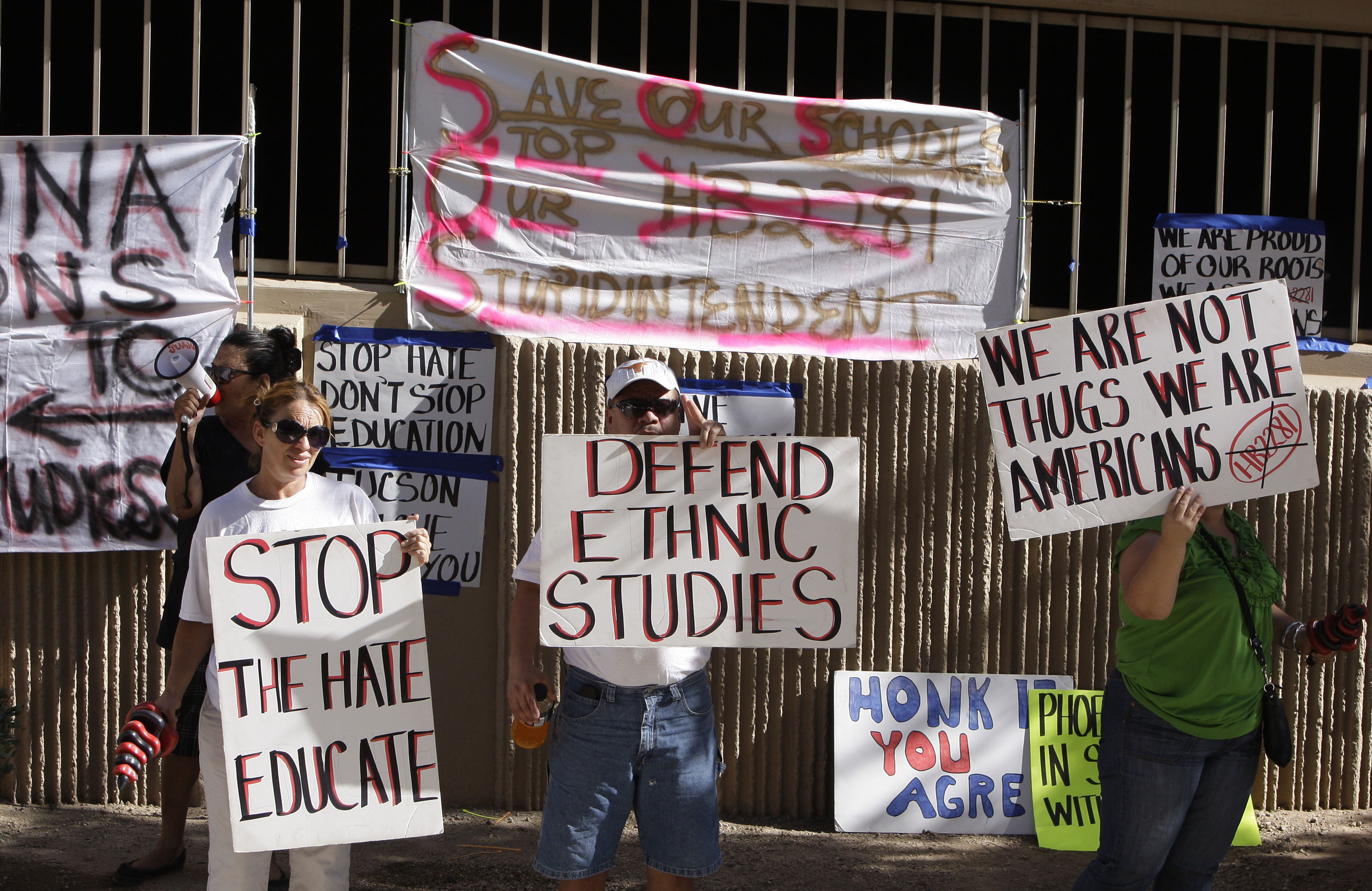 Protesters gather to support Mexican American Studies in Phoenix.