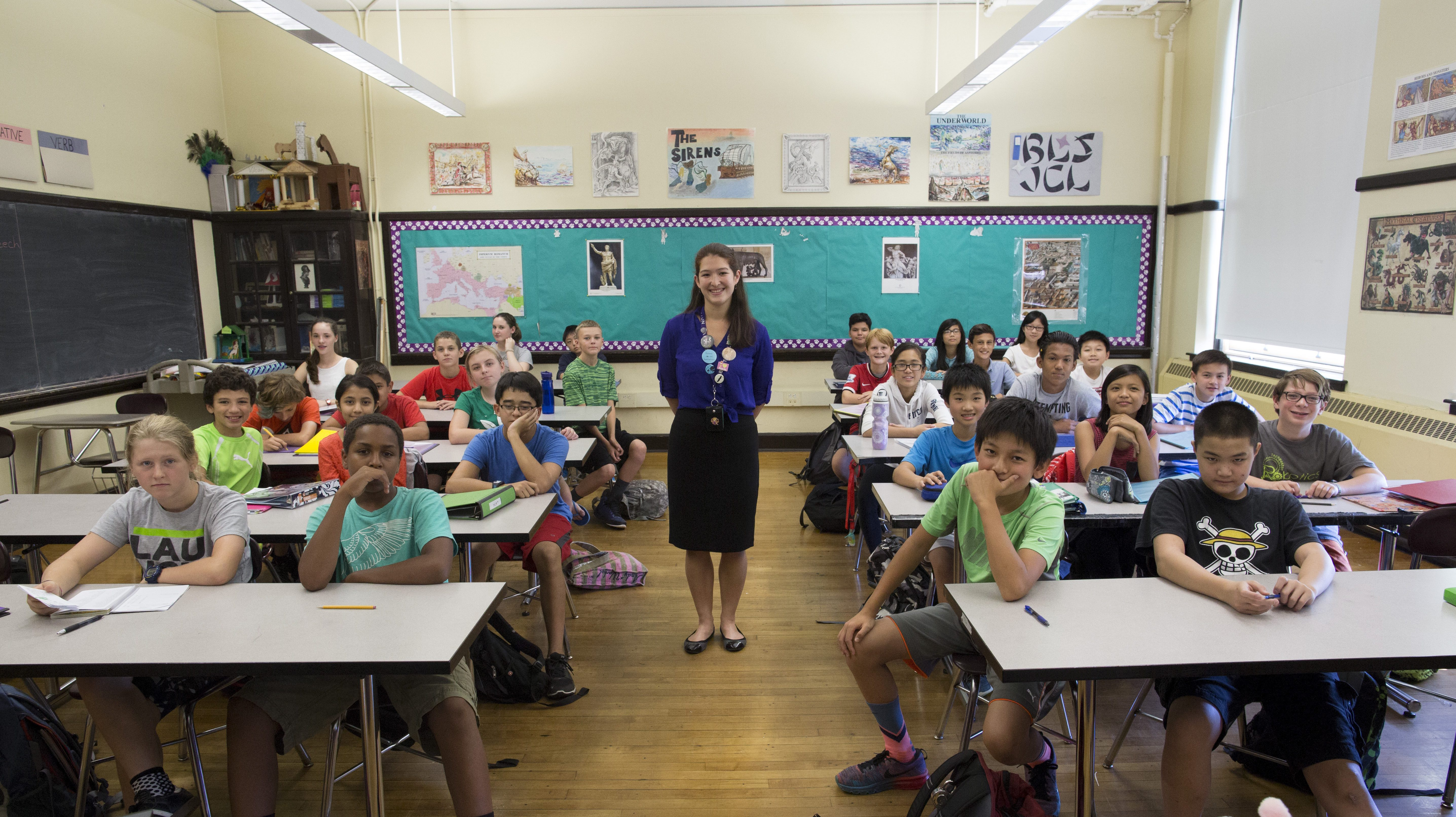 A classroom in Boston Latin School, the first and oldest public school in the U.S, founded in 1635.