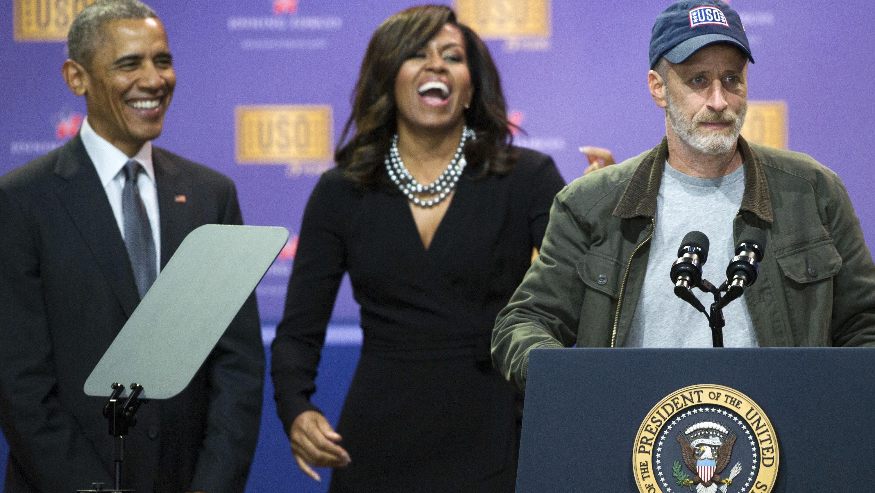 Jon Stewart, Barack Obama, Michelle Obama