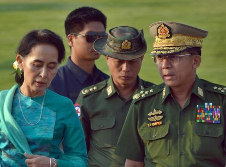 Aung San Suu Kyi with general Min Aung Hlaing