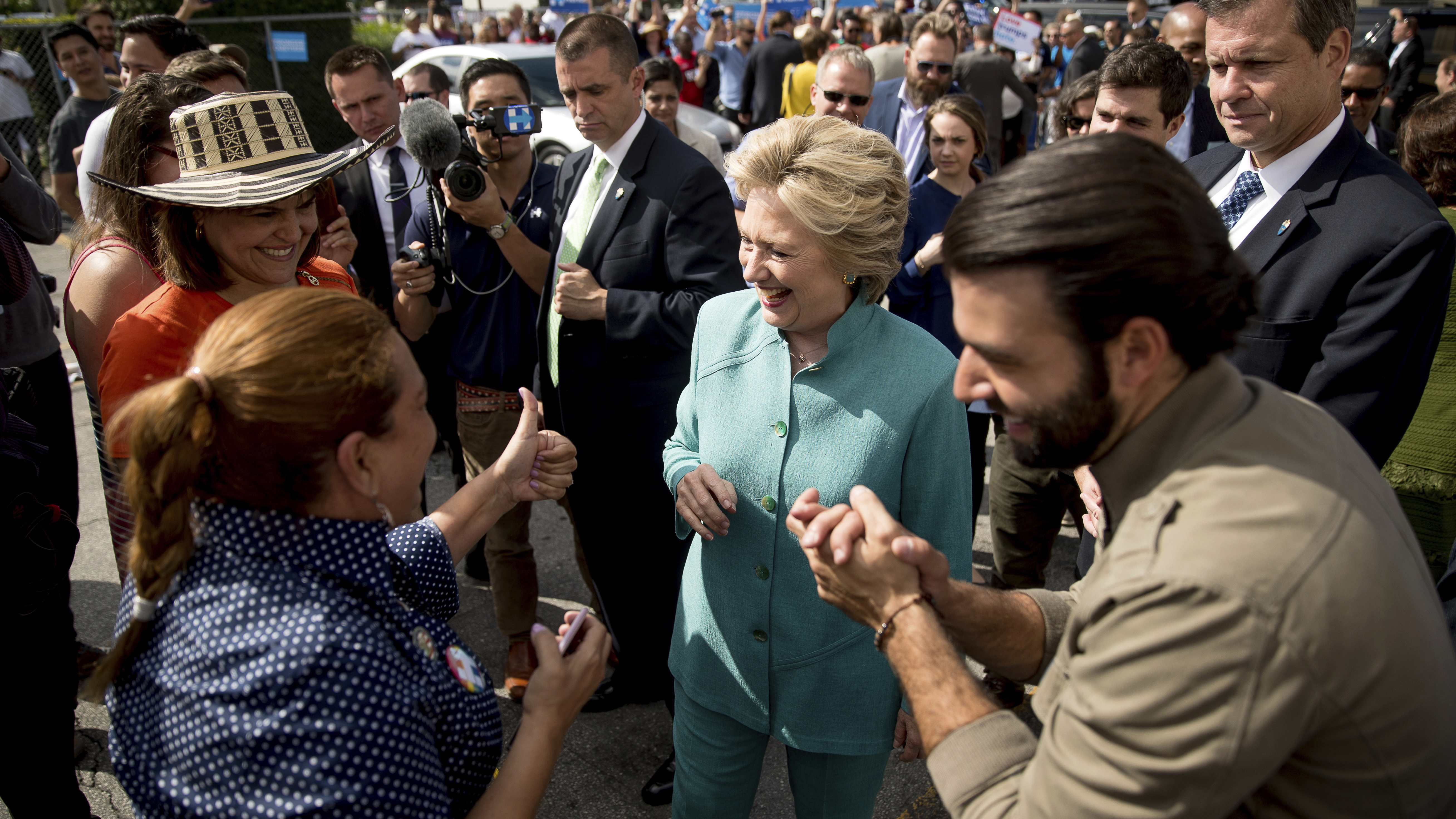 Hillary Clinton campaigned in Florida on Saturday. Hispanic voters may decide who wins there.