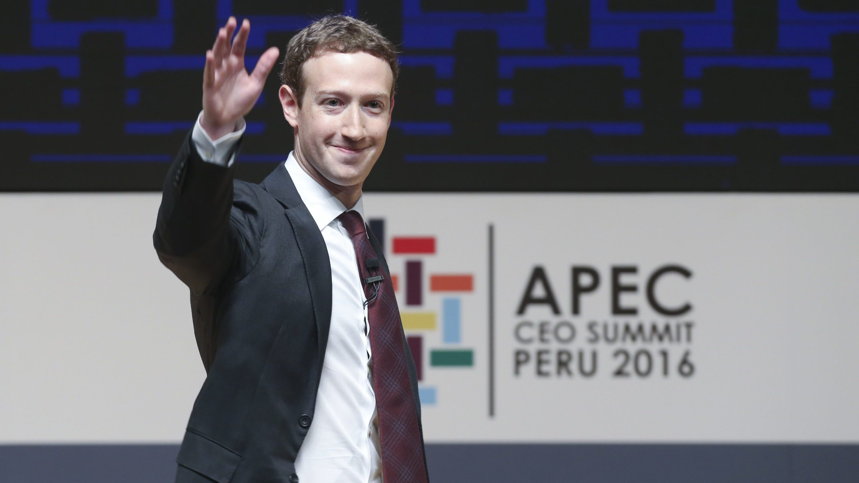 Mark Zuckerberg, chairman and CEO of Facebook, at the CEO summit during the annual Asia Pacific Economic Cooperation (APEC) forum in Lima, Peru, Saturday, Nov. 19, 2016.