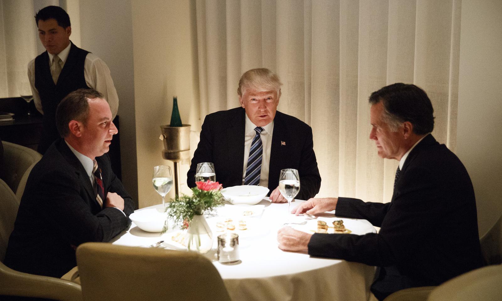 Donald Trump,Mitt Romney,Reince Priebus eat dinner at Jean Georges