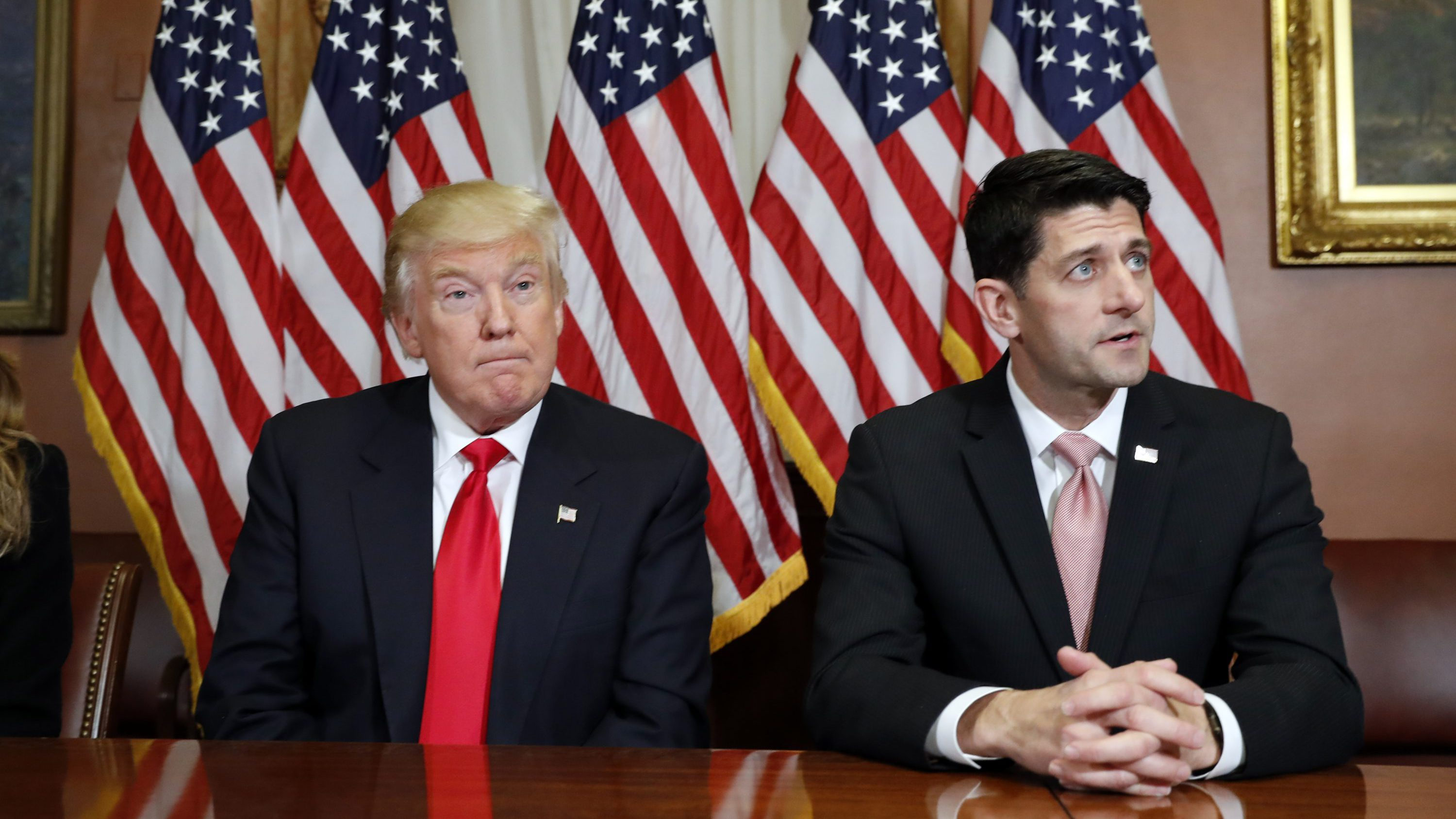 President-elect Donald Trump is seen with House Speaker Paul Ryan of Wis. on Capitol Hill in Washington, Thursday, Nov. 10, 2016. (AP Photo/Alex Brandon)