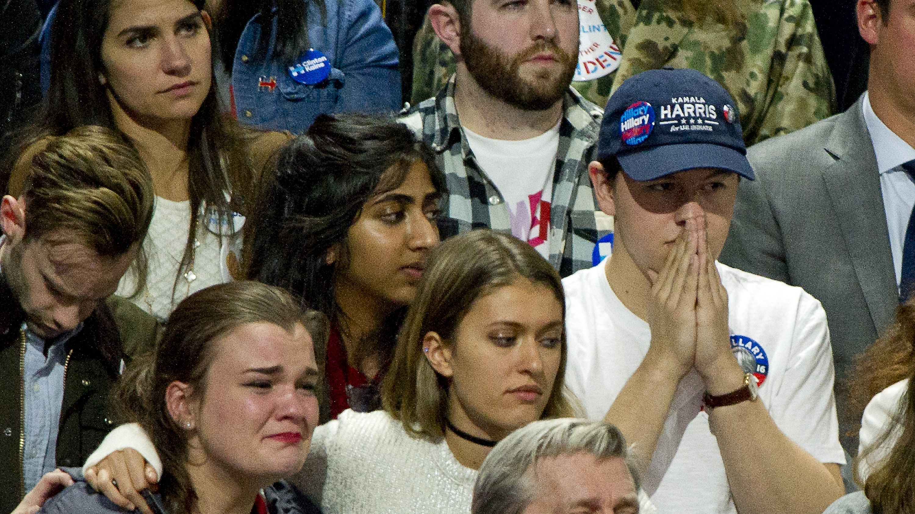 Hillary Clinton supporters are tearful as North Carolina is called for Donald Trump at the Clinton Election Night Event at the Jacob K. Javits Convention Center in New York, New York on Tuesday, November 8, 2016.