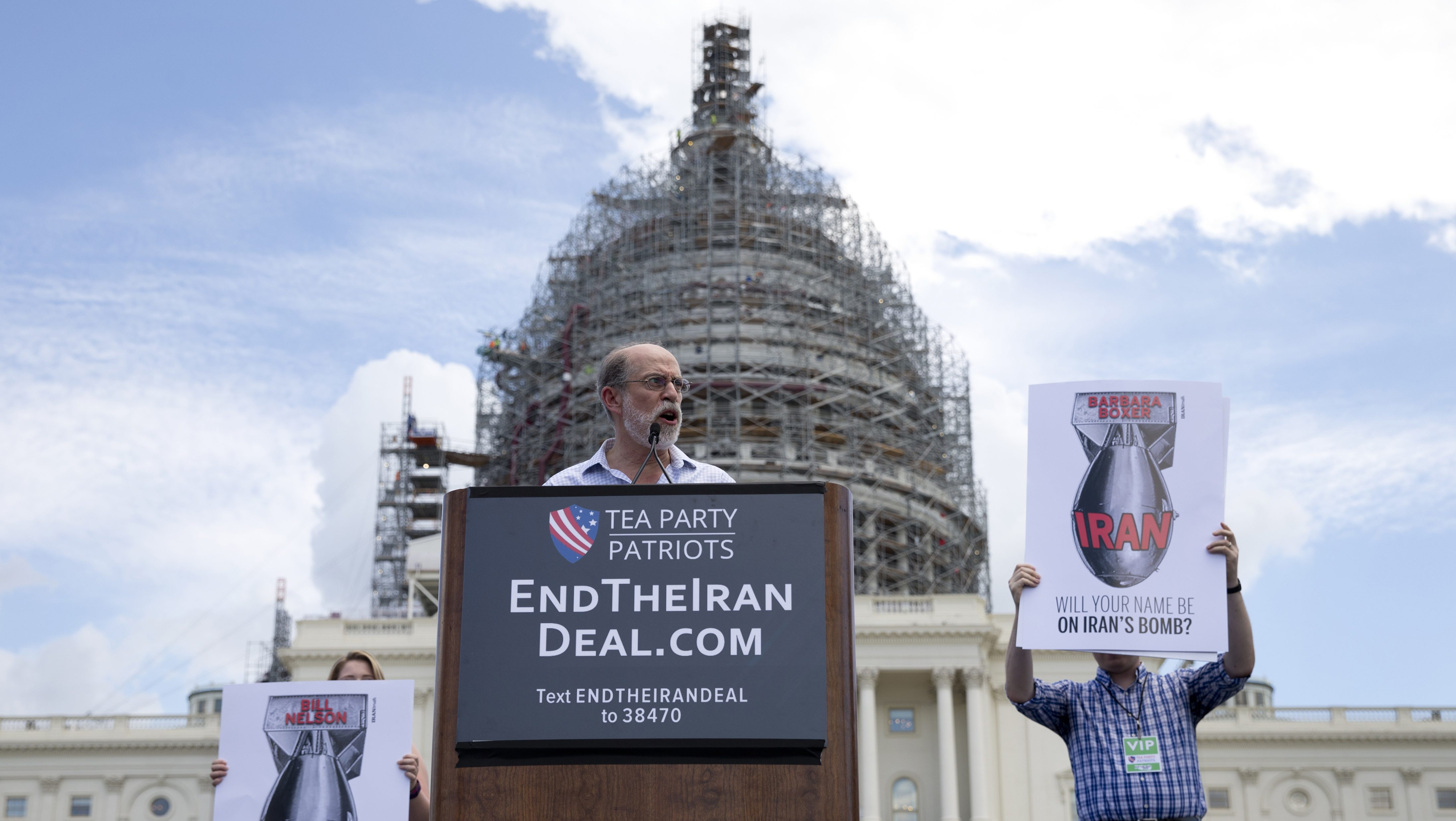 Frank Gaffney, founder and CEO of the Center for Security Policy, speaks during a rally organized by Tea Party Patriots in on Capitol Hill in Washington, Wednesday, Sept. 9, 2015, to oppose the Iran nuclear agreement. (AP Photo/Carolyn Kaster)