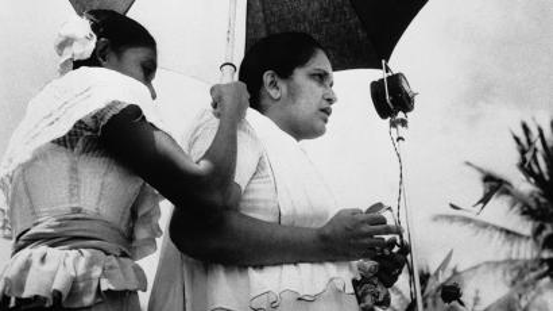 Sirimavo Bandaranaike gives a speech
