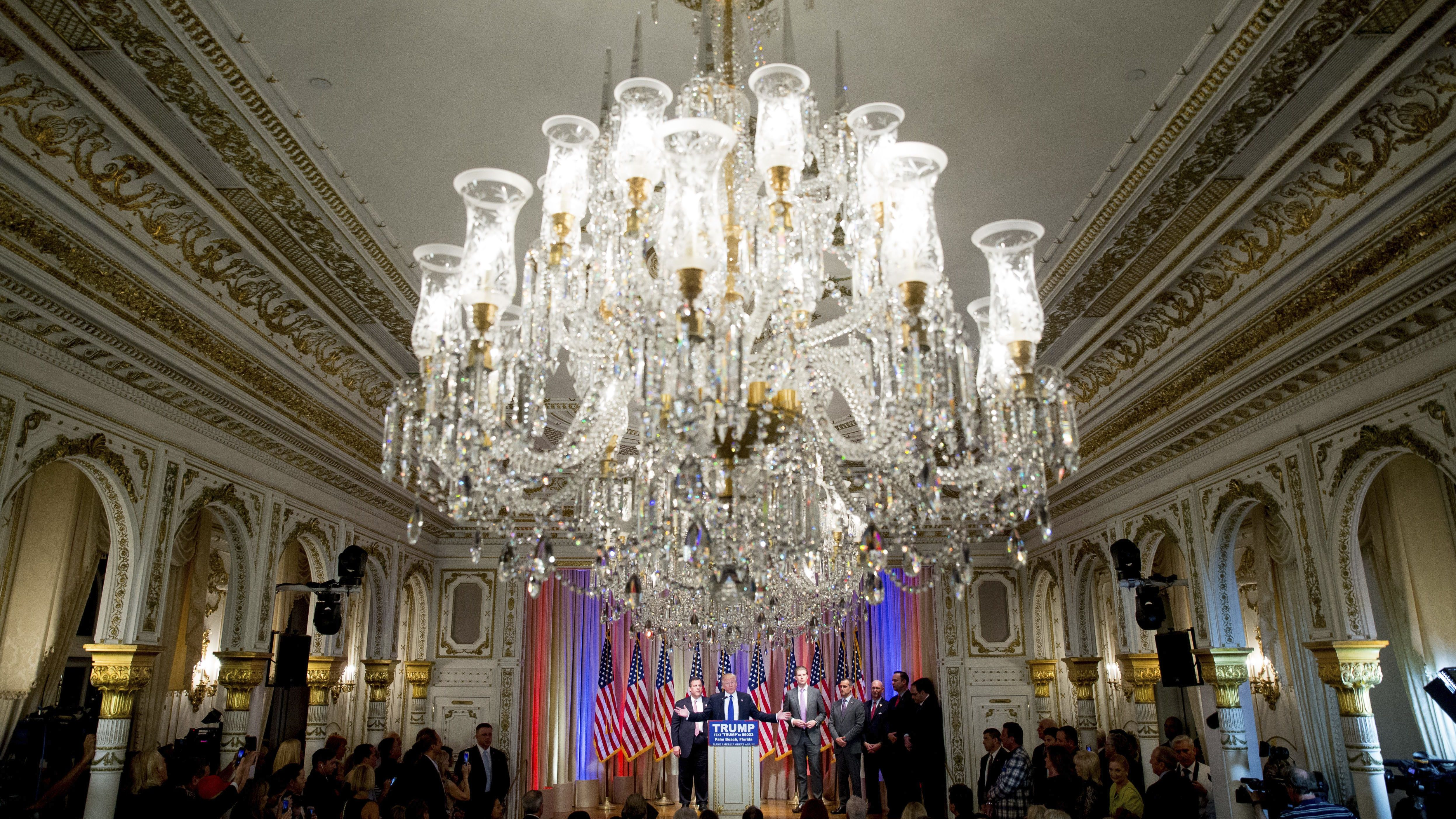 Donald Trump speaks in the Mar-a-Lago golf clubs palatial ballroom
