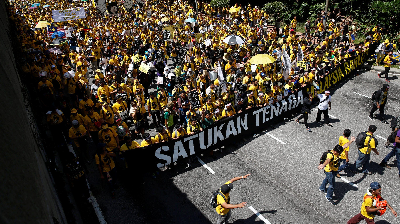 Pro-democracy group Bersih stage 1MDB protest, calling for Prime Minister Najib Abdul Razak to resign, in Kuala Lumpur, Malaysia