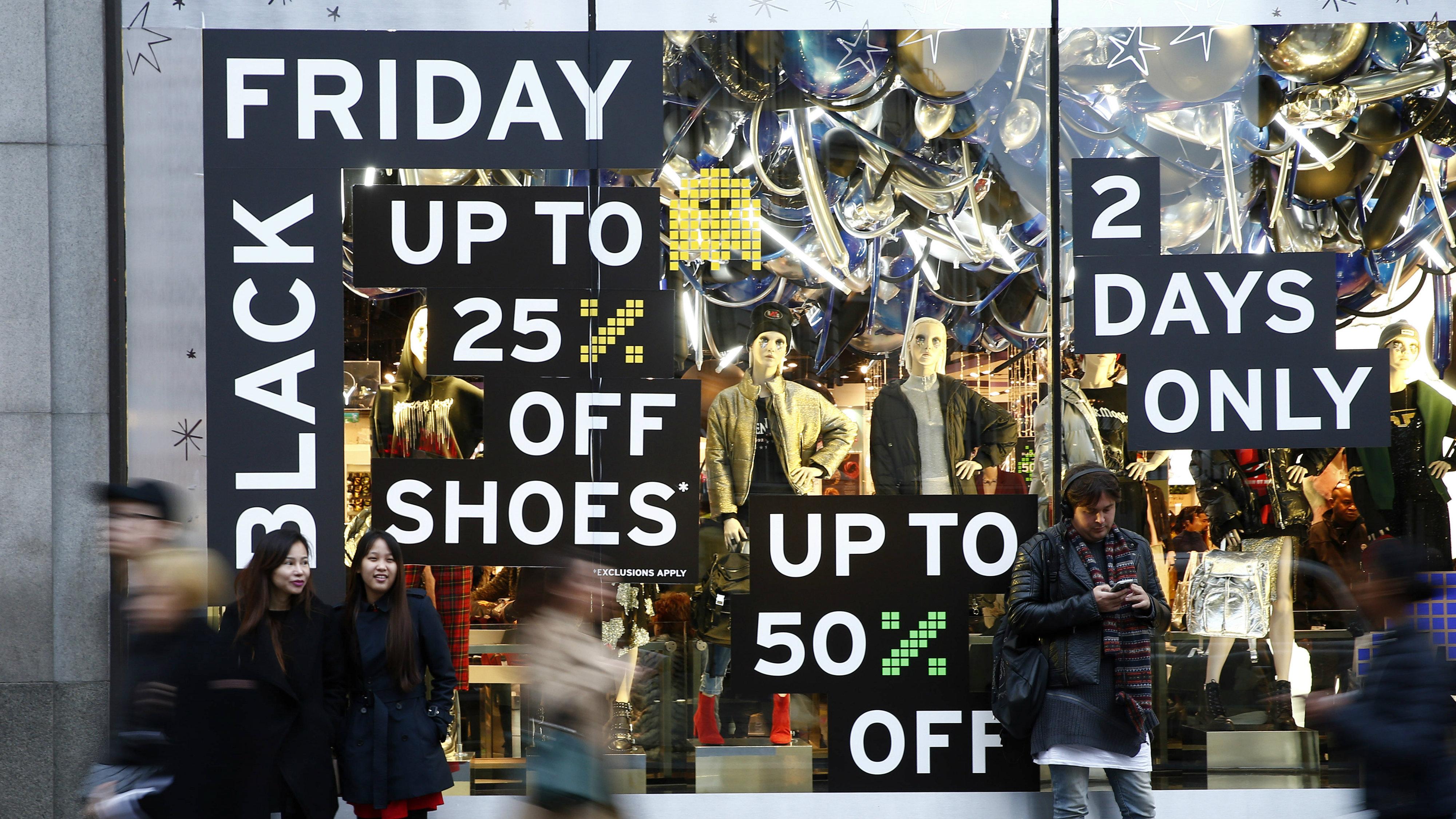 Black Friday sales in shop windows