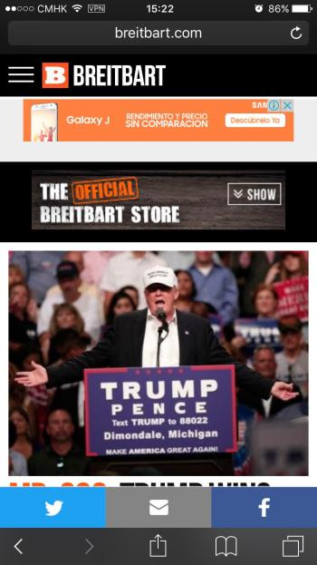 An ad served by Google's AdSense on Breitbart.