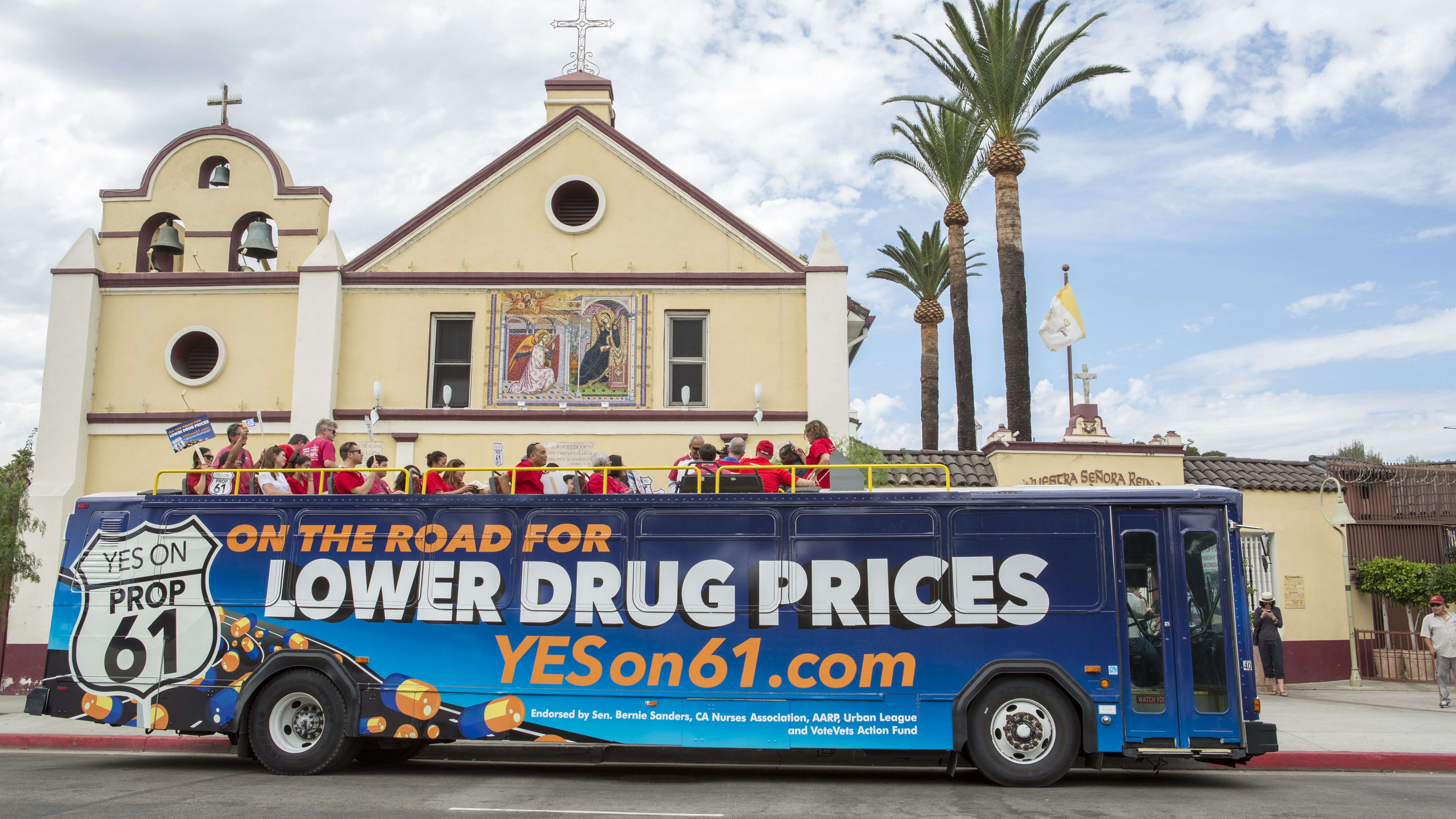 """Supporters of Proposition 61, the California Drug Price Relief Act, ride a double-decker bus in Los Angeles, to launch the """"On the Road for Lower Drug Prices,"""" YES ON 61 Tour across California, on Monday, Sept. 19, 2016. Coalition members, community leaders and supporters laid out how Proposition 61 will lower drug prices"""