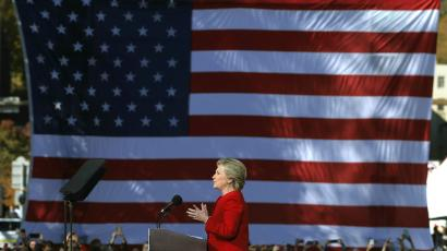 Clinton campaigning in the key battleground state of Pennsylvania with large US flag