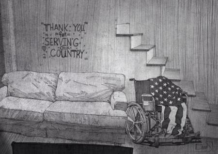 Couch, wheelchair, and American flag.