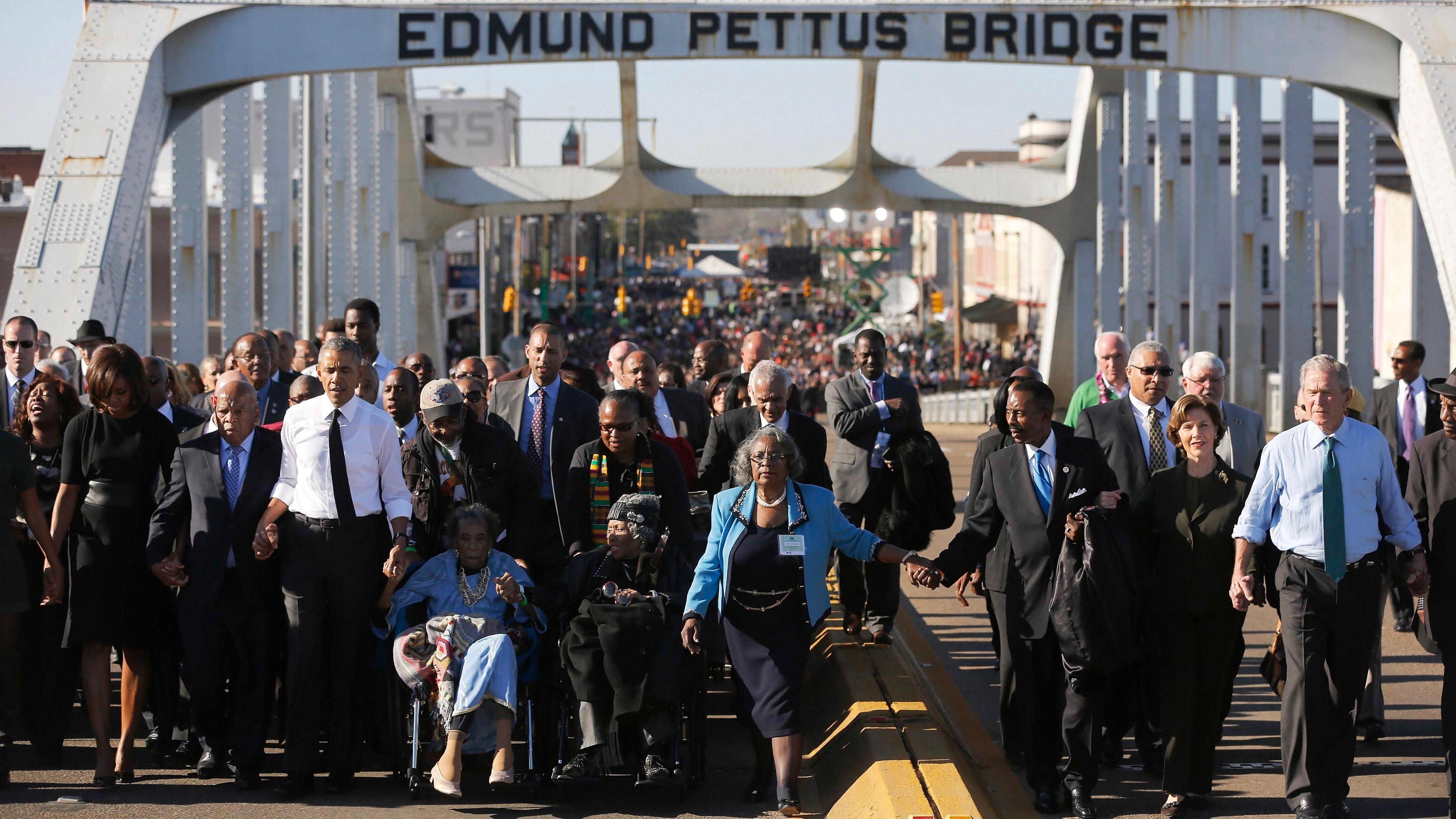 Walking the bridge in Selma, Alabama.