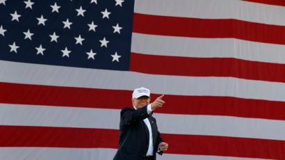 Donald Trump in front of American flag