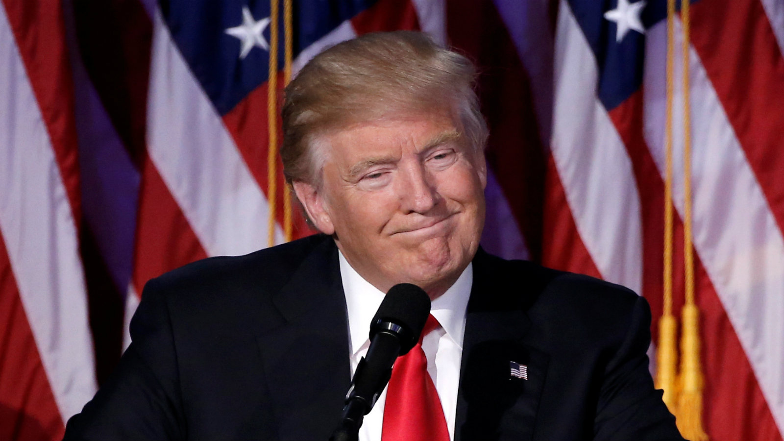 U.S. President-elect Donald Trump speaks at election night rally in Manhattan, New York, U.S., November 9, 2016.