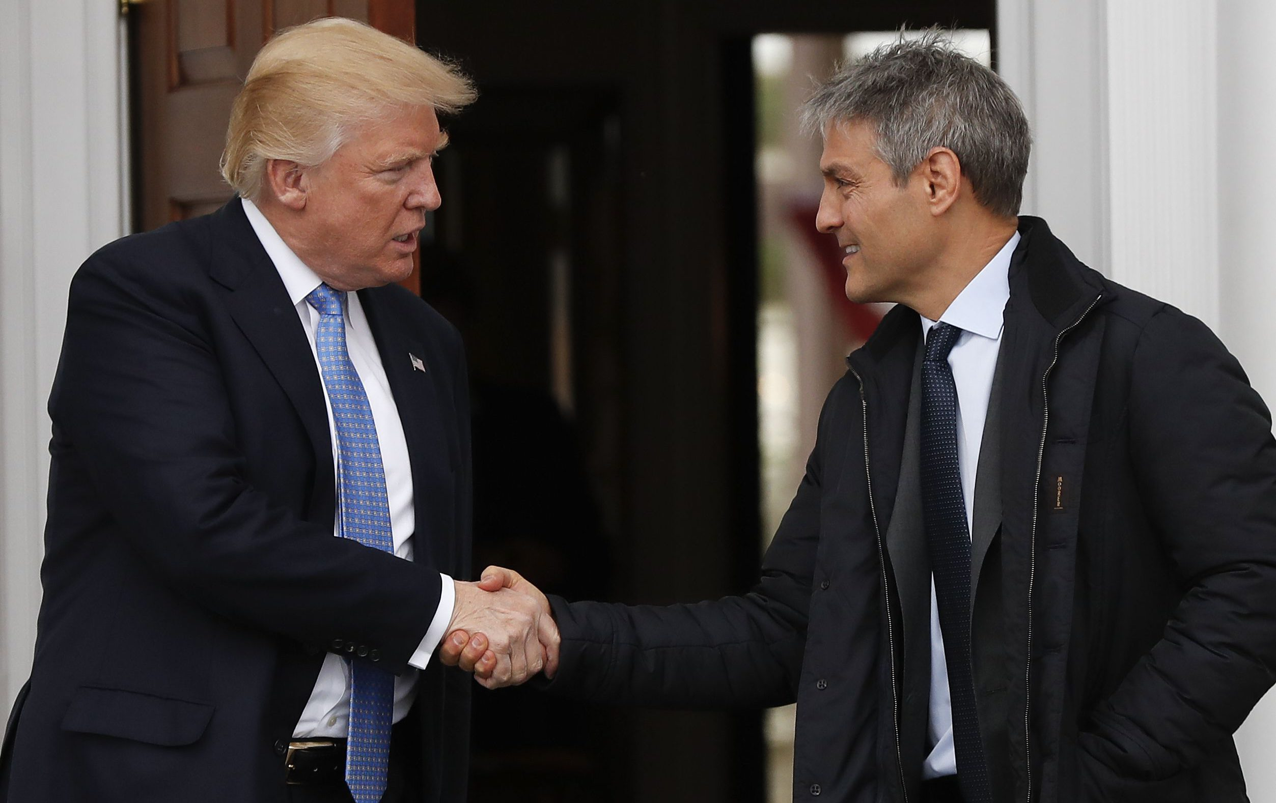 President-elect Donald Trump shakes hands with Ari Emanuel as he leaves the Trump National Golf Club Bedminster clubhouse, Sunday, Nov. 20, 2016 in Bedminster, N.J.. (AP Photo/Carolyn Kaster)