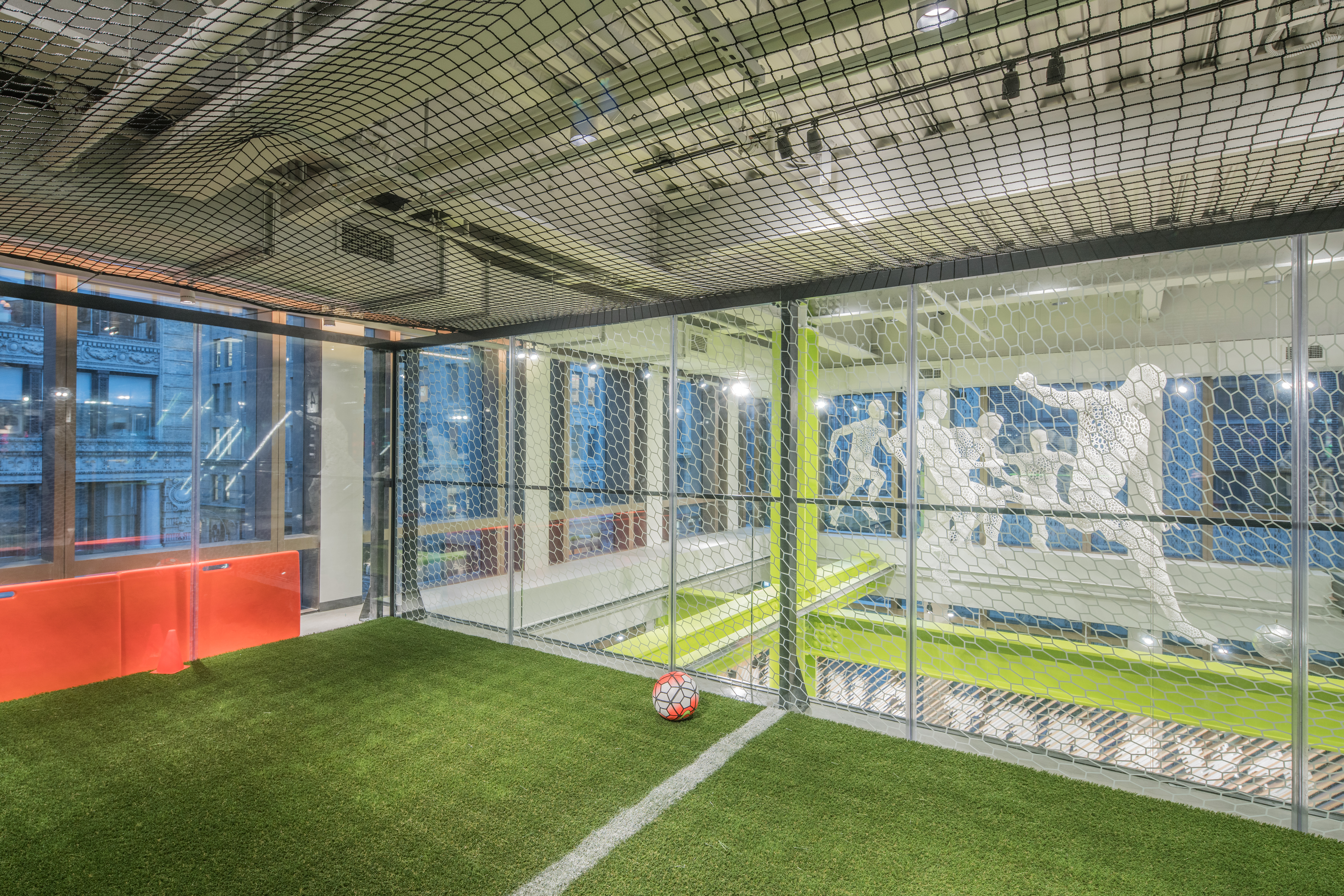 The soccer trial area in Nike's new Soho store