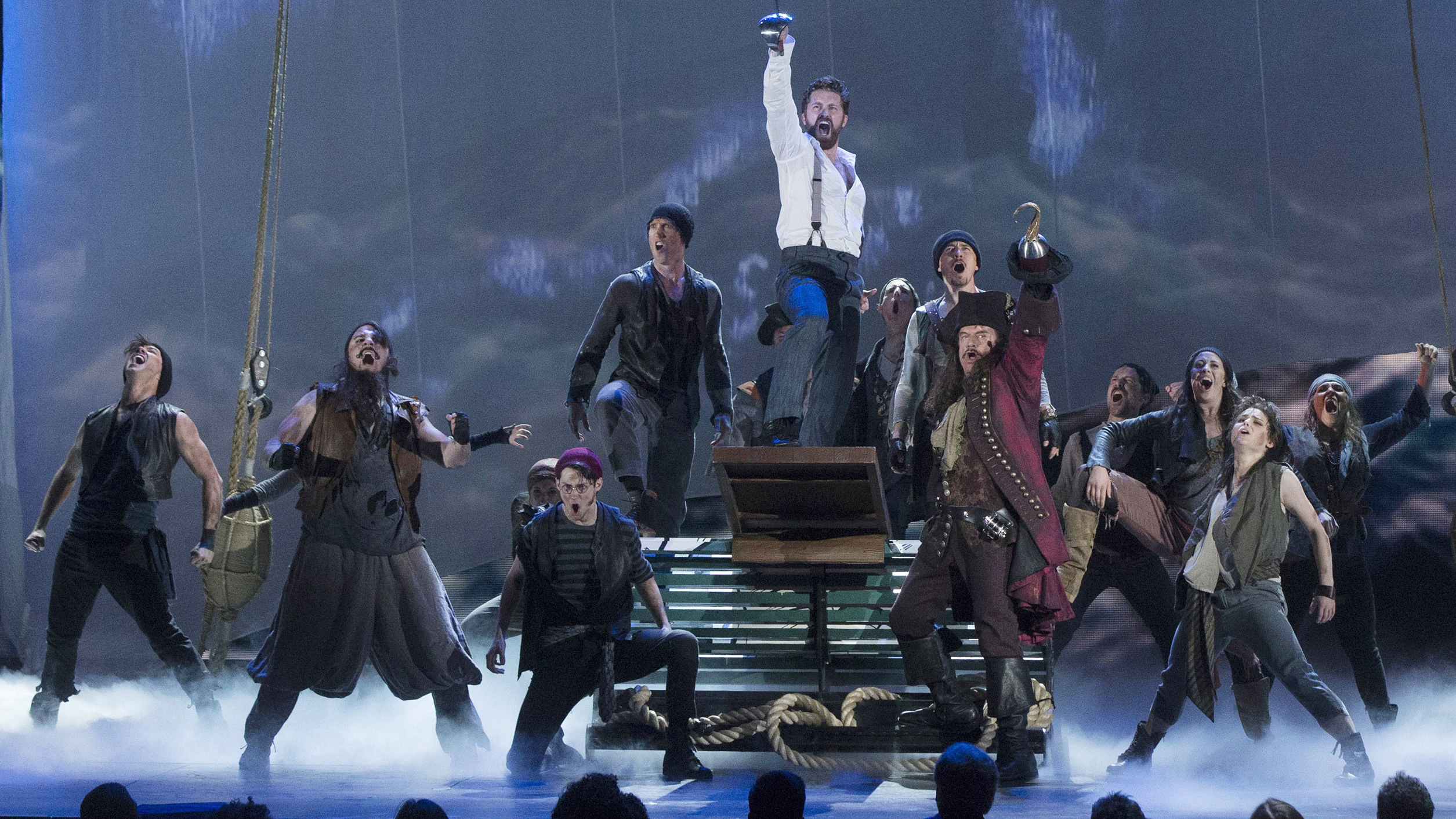 """The cast of the play """"Finding Neverland"""" performs during the American Theatre Wing's 69th Annual Tony Awards at the Radio City Music Hall in Manhattan, New York June 7, 2015.  REUTERS/Lucas Jackson - RTX1FKQR"""