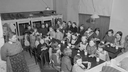 Children at a Finnish reform school, photographed in 1942.