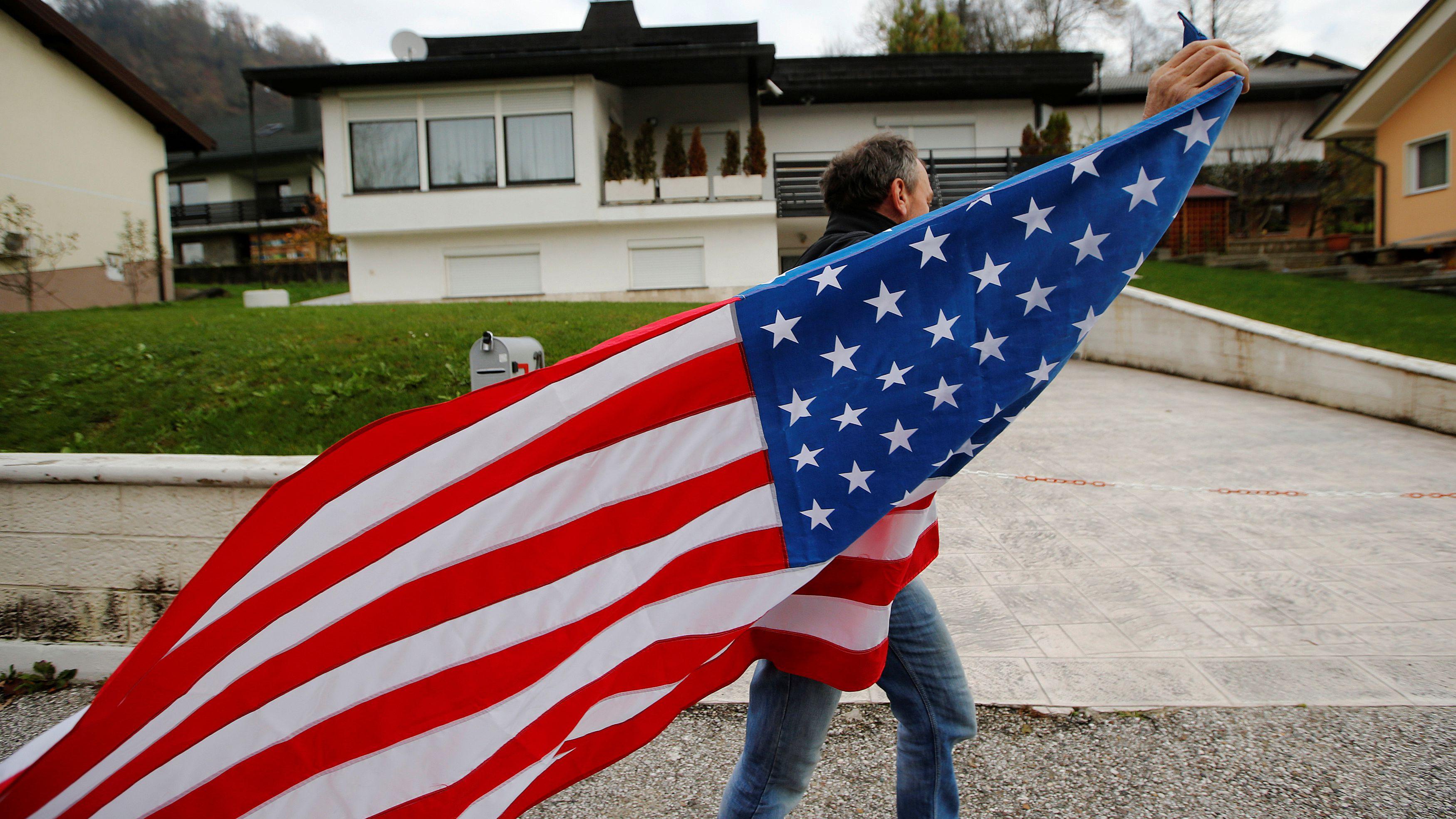 US American flag man