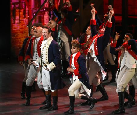 "Lin-Manuel Miranda and the cast of ""Hamilton"" perform at the Tony Awards at the Beacon Theatre on Sunday, June 12, 2016, in New York."