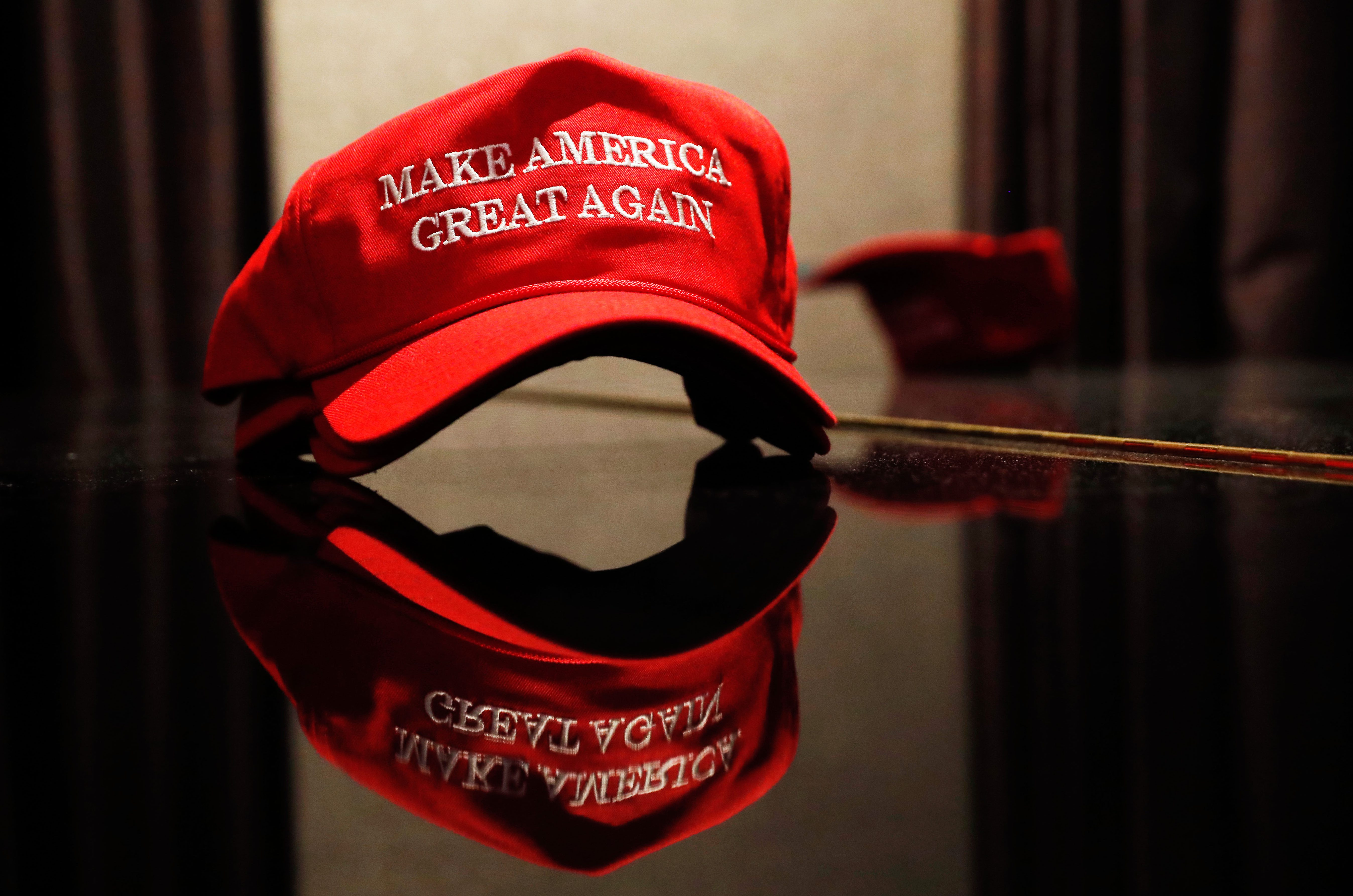 A Trump hat sits on a table outside of the rally for Republican U.S. presidential nominee Donald Trump in New York City, New York, U.S. November 8, 2016.